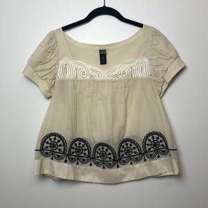 Anthropologie Lithe l Chantal Ivory & Black Blouse